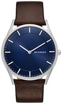 Skagen Holst Leather Strap Watch, Brown/blue