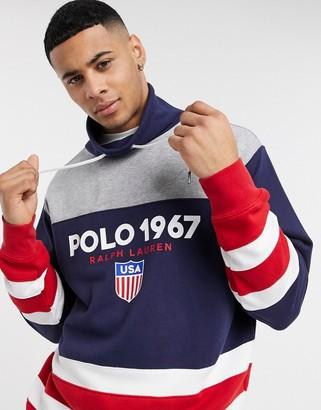Polo Ralph Lauren oversized sweatshirt in gray color block with funnel neck