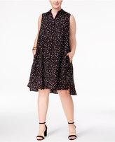 Anne Klein Plus Size Printed Trapeze Shirtdress