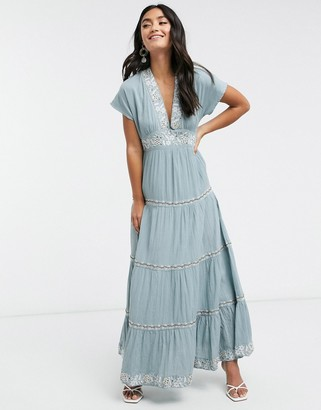 Y.A.S Selma embroidered tiered maxi dress in blue