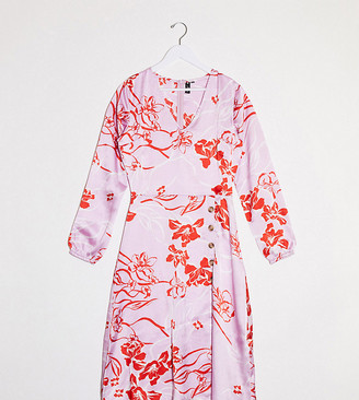 Influence Tall button front midi dress in pink floral