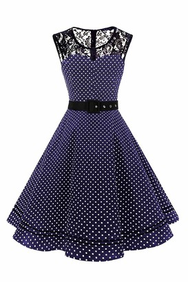 AXOE Women Polka Dot Dresses 1950s Vintage Audrey Hepburn White Black UK Size 14