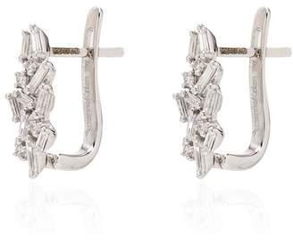 Suzanne Kalan 18kt white gold huggie diamond earrings