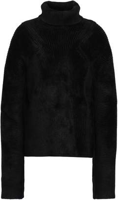 Haider Ackermann Smocked Chenille Turtleneck Sweater
