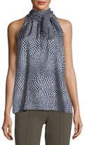 Diane von Furstenberg Tie-Neck Sleeveless Printed Silk Blouse