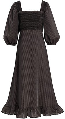 Ganni Seersucker Puff-Sleeve Midi Dress