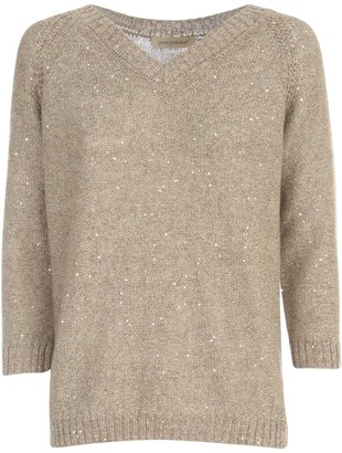 Gentry V Neck L/s Sweater W/paillettes