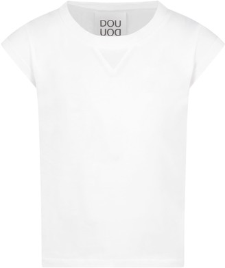 Douuod White T-shirt For Kids With Logo