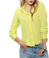 QIYUN.Z Women Loose Chiffon Blouse Shirt Long Sleeves Loose Pattern Chemises