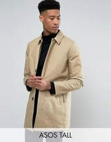 Asos TALL Single Breasted Trench Coat With Shower Resistance in Stone