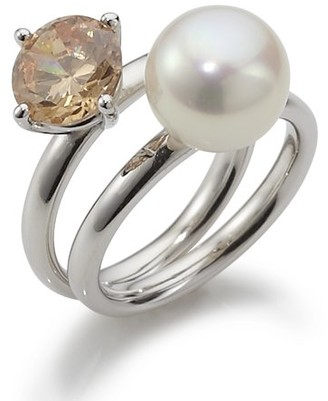 Adriana RAR-O-Gr.56 High Lustre White 9.0 mm Round Freshwater Pearl Sterling Silver 925 and Cubic Zirconia Ring Size P 1/2