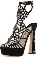 Sophia Webster Liliana Embroidered Platform Sandal, Black