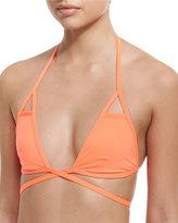 Vitamin A Serra Solid Wrap Swim Top, Orange