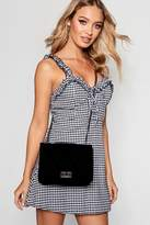 boohoo Haley Suedette Quilted Cross Body Bag