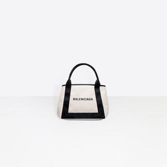 Balenciaga Small size cotton canvas and calfskin tote bag