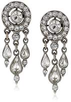 Ben-Amun Jewelry Round Crystal Stud with Drop Earrings