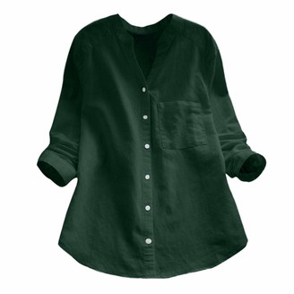 Toamen Women's Tops T-Shirt Sale Clearance 2019 New Ladies Cotton Linen Casual Long Sleeve Button Down Loose Blouse Shirt (Green 14)