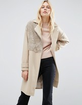 Asos Biker Coat with Borg Detail