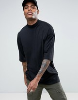 Asos Oversized T-Shirt With Turtleneck In Black