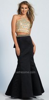 Dave and Johnny Two Piece Beaded Ruffle Back Mermaid Prom Dress