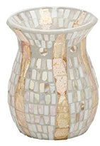 Yankee Candle 1348226 Gold Wave Oil Burner, Glass, Mother of Pearl, 10.5 x 10.5 x 14 cm