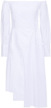 Each X Other Off-the-shoulder Pleated Poplin Dress