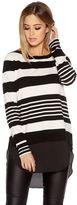 Quiz Cream And Black Light Knit Stripe Jumper
