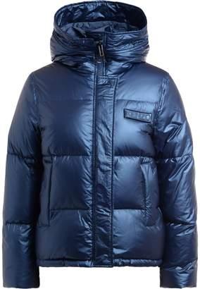 Kenzo Jacket With Hood In Metallic Blue Color