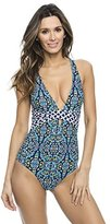 Athena Women's Mosaic Tile Cross-Back One-Piece Swimsuit