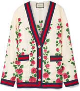 Gucci Grosgrain-trimmed Floral-print Silk-satin Cardigan - Ivory