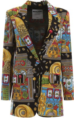 Moschino Slot Machine Print Single Breasted Blazer