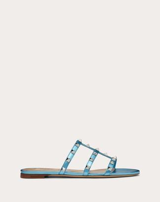 Valentino Rockstud Flat Laminated Nappa Slide Sandal Women Azure Lambskin 100% 37
