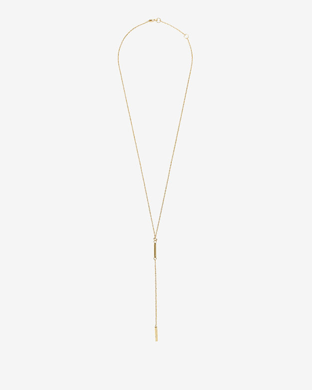 Jennifer Zeuner Jewelry Diamond Detail Double Mini Bar Lariat Necklace
