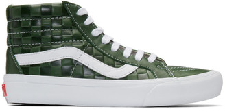 Vans Green Leather Check Reissue VI Sk8-Hi Sneakers