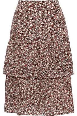 Vanessa Bruno Tiered Floral-print Crepe De Chine Skirt