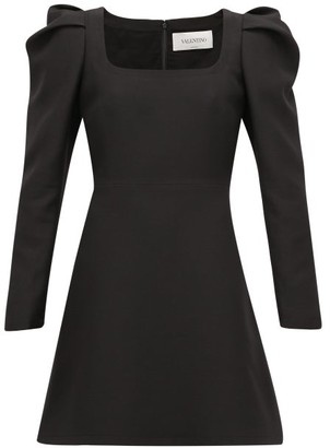 Valentino Exaggerated-shoulder Wool-blend Crepe Dress - Black