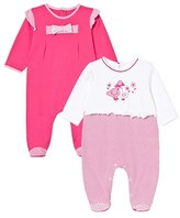 Mayoral Pack of 2 Fuchsia and White Patterned Babygrows