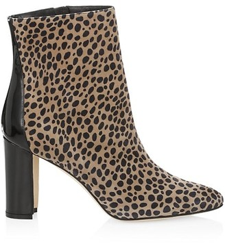 Manolo Blahnik Rosie Animal-Print Suede & Patent Leather Ankle Boots