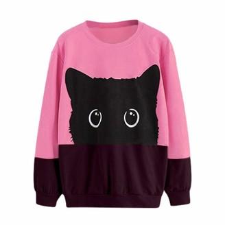 jieGorge Sweatshirt for Women Casual Cat Print Long Sleeve Hoodie Sweatshirt Hooded Pullover Tops Blouse