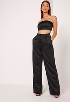 Missguided Satin Wide Leg Trousers Black