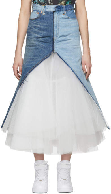 Junya Watanabe Indigo and White Denim and Tulle Skirt