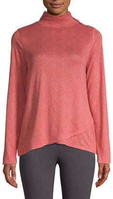 ST. JOHN'S BAY SJB ACTIVE Active-Womens Turtleneck Long Sleeve Button Shoulder Top