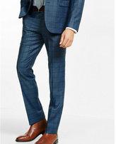 Express slim photographer navy windowpane wool blend suit pant