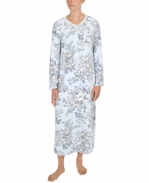 Miss Elaine Floral-Print Fleece Long Nightgown