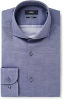 Hugo Boss - Blue Jerrin Slim-fit Cutaway-collar Cotton-jacquard Shirt