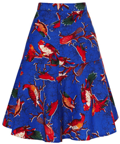 Clements Ribeiro Clara Parrot Print Flip Skirt