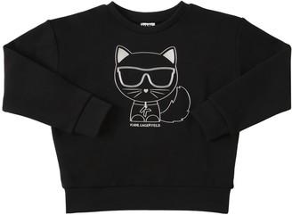 Karl Lagerfeld Paris Choupette Print Cotton Sweatshirt