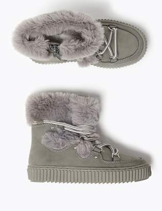Marks and Spencer Kids' Faux Fur Snow Boots (5 Small - 12 Small)