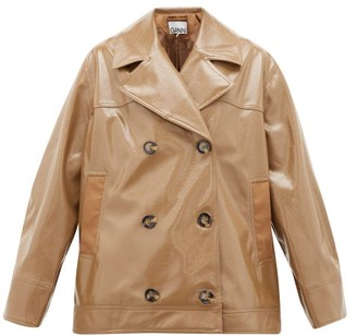 Ganni Double-breasted Patent Faux-leather Jacket - Womens - Beige