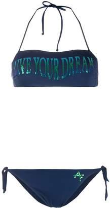 Alberta Ferretti halter neck slogan print bikini